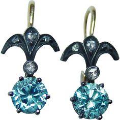 Vintage Natural Blue Zircon Diamond French Leverback Earrings 18K Gold Estate found at www.rubylane.com @rubylanecom