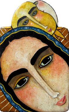 SOLD: Queen of Peace / pigmented wood panel (retablo) by Virginia Maria Romero