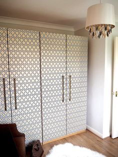 """This quick and easy IKEA hack will require minimum effort but is guaranteed to have big impact. With brand new Cole and Son Hicks' Hexagon wallpaper on the classic PAX wardrobe, it is guaranteed to make everyone go """"WOW!!"""" read more on the blog www.seasonsincolo... #boudoir #makeuproom interiors interior styling makeover IKEA HACK, PAX upcycle"""