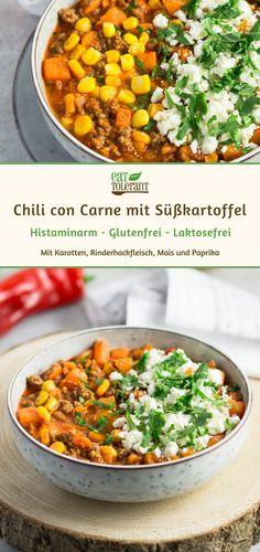Original Chili con Carne, aber trotzdem Histaminarm? Einfaches Rezept mit Süßkartoffel und Rinderhackfleisch, ohne Bohnen! Schnell, Low Carb, gesund! Perfekt für Gäste, zum Geburtstag, Party oder Karneval! #chiliconcarne #histaminintoleranz #histaminarm #histaminfrei #glutenfrei #milchfrei #lowcarb #süßkartoffel #laktosefrei #eattolerant Salat Al Fajr, Dinner For Two, Food Inspiration, Clean Eating, Curry, Paleo, Food And Drink, Veggies, Lunch