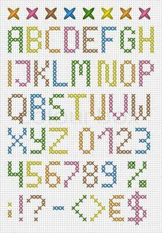Stock vektor ✓ 15 mio. billeder ✓ Billeder til web og print i høj kvalitet | Farverige korssting store bogstaver engelske alfabet