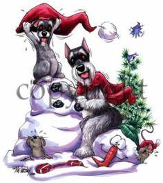 Schnauzer Snowman Holiday