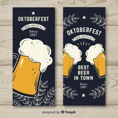 Octoberfest Party, Oktoberfest Beer, Banners, Beer Poster, Free Beer, Brew Pub, Beer Festival, Chalkboard Art, Chalk Art