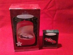 Hallmark Ornament Corvette 1997 Minature 1998 Corvette Lights Motion w boxes