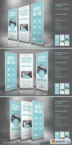 Business Roll-Up Banner. Modern and clean design for banner/rollup. Perfect for PR agency or other business promotion. All elements are editable. Rollup Design, Rollup Banner Design, Banner Stand Design, Bunting Design, Web Design, Flyer Design, Layout Design, Tradeshow Banner Design, Exhibition Banners