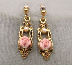 1928-brand Victorian revival pierced earrings gold filigree pink ceramic roses #1928 #DropDangle