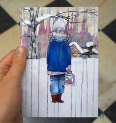 Christmas card by Lotte Teussink. #christmascards #christmasart #popsurrealism