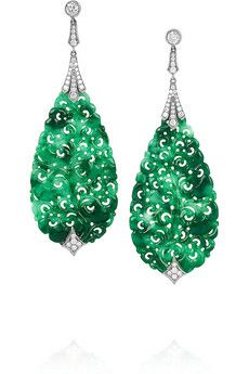 Fred Leighton Collection 18-karat white gold, jade and diamond earrings | NET-A-PORTER