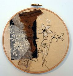 Textile Collage Picture in a Hoop