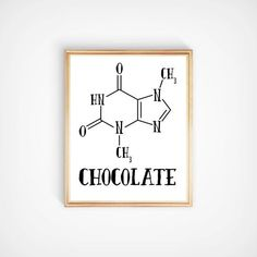 Chocolate theobromine molecule wall art decor Chemistry science nerdy printable Kitchen office home typographic print Modern contemporary