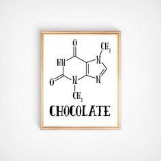 Chocolate Theobromine Molecule Nerdy B&W by 31stAvePrintShop