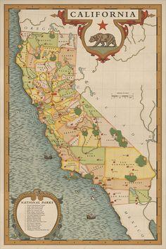 Carte de parcs nationaux en Californie Vintage par NationalParkArt