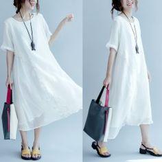 Fine white linen summer dresses plus size cotton sundress caual shift dress 2017 collection