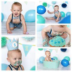 Cakesmash jongen: babyblauw, donkerblauw en mint