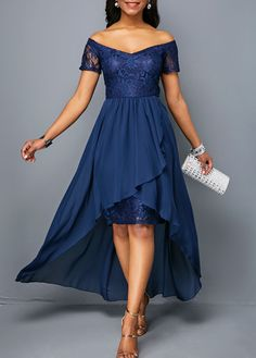 49179c86d Short Sleeve Off the Shoulder High Low Dress