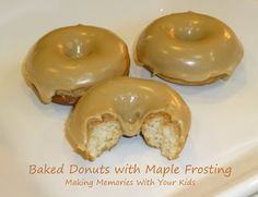Double recipe for donuts. Frosting use 1 c. Powdered sugar, 1 T. Butter, 6 T. Baked Donuts with Maple Frosting Baked Donut Recipes, Baked Doughnuts, Frosting Recipes, Icing Recipe, Maple Frosting Recipe For Donuts, Maple Cream Filling Recipe, Amish Recipes, Cooking Recipes, Maple Donuts