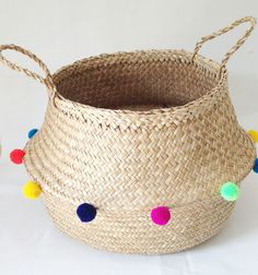 Colourful Pom Pom Sea Grass Belly Basket Panier Boule Storage Nursery Beach Picnic Toy