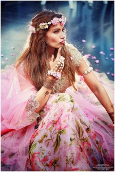 Bipasha Basu in an Anushree Reddy Lehenga with floral jewellery at her Sangeet and Mehendi - bollywood - wedding - bride - flower crown - bohemian - floral Mehndi Outfit, Mehndi Dress, Sangeet Outfit, Bridal Outfits, Bridal Dresses, Flower Girl Dresses, Bridal Lehenga, Lehenga Choli, Pink Lehenga