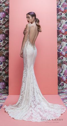 """galia lahav spring 2019 bridal sleeveless deep plunging v neck full embellishment elegant sexy fit and flare wedding dress low open back chapel train (luca) bv -- Galia Lahav Spring 2019 """"Queen of Hearts"""" Bridal Collection Fitted Wedding Gown, Satin Mermaid Wedding Dress, Fit And Flare Wedding Dress, Applique Wedding Dress, Wedding Dress Styles, Bridal Dresses, Wedding Gowns, Tulle Ball Gown, Ball Gowns"""