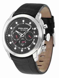 Police Men's PL-12677JS/02 Pilot Black Dial Dual Time Crocodile Leather Watch Police. $109.99. Stainless steel case. Black genuine crocodile leather. Quartz movement. Water resistanace to 100 meters (330 feet). Black textured dial with day, date and 24 hour display