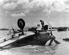 The downed Japanese dive bomber Aichi D3A on Guam Island