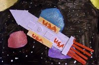 Rocket and Space Art Collage.