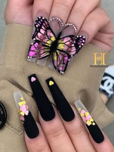 Purple Acrylic Nails, Summer Acrylic Nails, Best Acrylic Nails, Purple Nails, Matte Nails, Pink Purple, Black Nails, Butterfly Nail Designs, Butterfly Nail Art