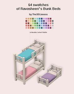 I recolored Bunk Beds (Mattresses) with Sorbet Palette which includes 64 brightly-colored swatches. Sims 4 Mods, Sims 4 Game Mods, Sims 4 Nails, Maxis, The Sims 4 Packs, Sims 4 Black Hair, Sims 4 Characters, Sims4 Clothes, Free Sims