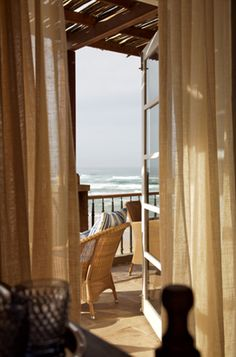 Beach, sunsets and such lovely interiors. Outdoor Retreat, Outdoor Spaces, Indoor Outdoor, Outdoor Living, Knysna, Old Room, Nice View, Window Treatments, Future House