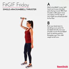 This One Move Will Leave Your Entire Body Sore AF  http://www.womenshealthmag.com/fitness/fitgif-friday-single-arm-dumbbell-thruster