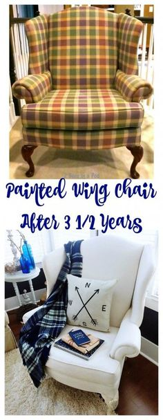Painted Wing Chair and Update. After 3 1/2 years this painted wing chair still looks brand new.