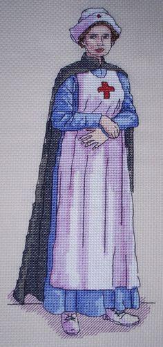 KL141 WW1 Nurse Counted Cross Stitch Kit by allaboutcrossstitch on Etsy https://www.etsy.com/listing/199515713/kl141-ww1-nurse-counted-cross-stitch-kit