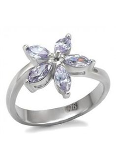 CJ7774OS Wholesale Stainless Steel Light Amethyst Cubic Zirconia Flower Ring