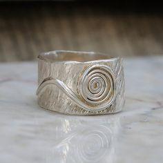 Spiral Ring  Hammered Wide Band for Men or Women  by UrbanJule
