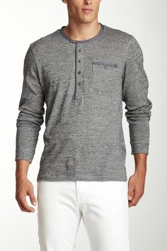 Ted Baker Vikings Long Sleeve Cotton Henley in gray marl