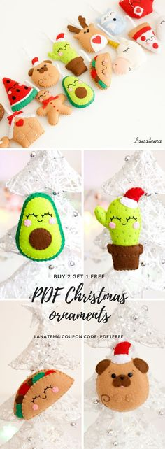 PDF pattern felt ornaments, digital file This PDF contains easy step by step instructions, lot of photos and the pattern ready to be printed and cut.