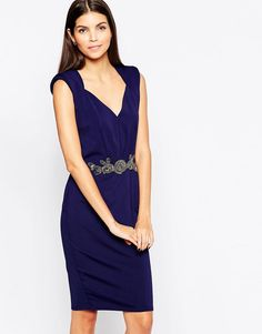 8661a9bf9b7 Little Mistress Bodycon Midi Dress with Embellished Waistband V Neck at  asos.com