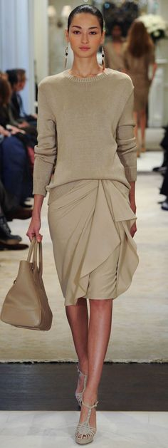 Ralph Lauren ~ tanned ponytailed mauvely pouting chocolate In Taupe Knit Sweater w Midi Skirt, bag, peeptoe stilplats