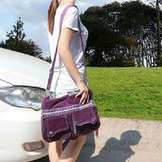 Ladies Purple bag ladies Computer Bag Shoulder Satchel Bag Multi Pocket corduroy    Price: $17.90