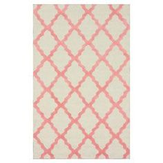 Wool rug in bubble gum with a trellis motif. Handmade in India.  Product: RugConstruction Material: 100% WoolColor: Bubble gumFeatures:  Made in IndiaHand-hooked Note: Please be aware that actual colors may vary from those shown on your screen. Accent rugs may also not show the entire pattern that the corresponding area rugs have.Cleaning and Care: These rugs can be spot treated with a mild detergent and water. Professional cleaning is recommended if necessary.