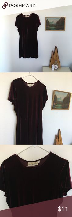 """90's Burgundy Velvet Dress Paris Sports Club 90's Burgundy Velvet Dress. Iron burn marks on label, otherwise great condition. Perfect holiday dress.   Measures: 34"""" long 19"""" pit to pit 16.5"""" waist 21"""" hips  Size L, with stretch could fit XL, good oversized look for M  #velvetdress #velvet #90s #clubkid #holiday #dress #burgundy #blackfriday #cybermonday Dresses Mini"""