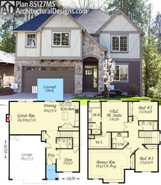 A graceful covered entry greets you to Architectural Designs 3 Bed Tudor #HousePlan 85127MS. An open floor plan with private den on main, and 3 beds, laundry, and a bonus room (included in the living area which comes in at just over 2,600 sq. ft.) are upstairs. Ready when you are. Where do YOU want to build?