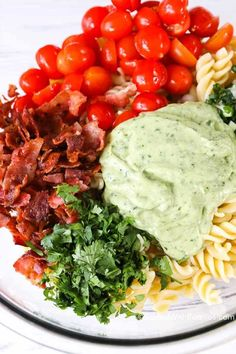 Fresh juicy tomatoes, crisp bacon and creamy avocados create an irresistible flavor in a perfect summer dish!  This pasta salad uses avocados in place of mayonnaise for a dressing that is rich and creamy yet loaded with the benefits of avocado!