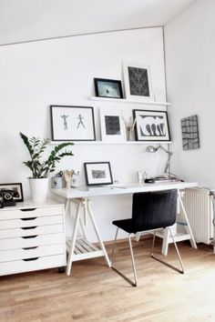 interior-exquisite-home-office-images-from-scandinavian-design-blogs-using-white-wooden-wall-shelves-and-a-silver-swing-arm-halogen-desk-lamp-also-with-a-rectangular-white-wooden-desk-and-black-stacki