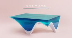 Elegant Marble and Acrylic Glass Table Mimics the Layered Depth of the Ocean Floor - My Modern Met