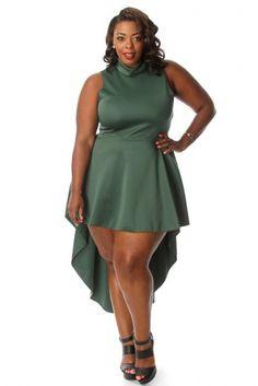 CurvyMarket - Plus Size Mock Neck High Low Cascade Dress