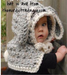 Easter Lop Long Ears Bunny Rabbit Handmade Crochet Girl's Toddler Girls Hood Capelet Shrug Cape Brown Gray USA Ship sz 2T 3T 4T 5  #easter #toddlergirls #bunnyhats #easterbunny