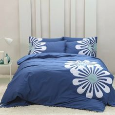 DIAIDI Home Textile,Elegant Blue Bedding Set,Embroidery Flower Bedding,European Bedding Sets,Queen/King,4Pcs Bedroom Set (King)