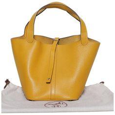 b3ef52c23ee1 Authentic Hermes Picotin Lock MM Moutarde Clemence Palladium Bag