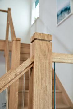 The contemporary bevelled detail on this glass and oak staircase gives this design additional character. Interior Stair Railing, Modern Stair Railing, Modern Stairs, Oak Stairs, Glass Stairs, House Staircase, Staircase Ideas, Dover House, Oak Handrail